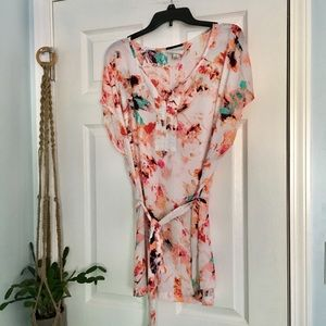 Watercolor Floral Tunic with Sash